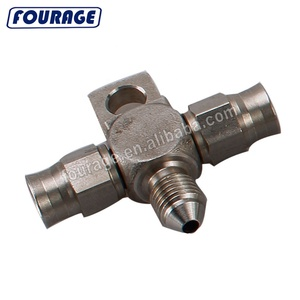 Stainless Steel PTFE Hose End 3 AN Male to Male and Female 2 x 3AN Coupler Tee Block Splitter with Locating Lug Mount Tab