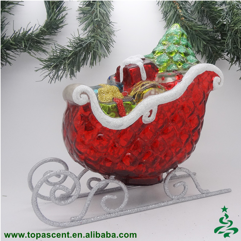 Traditional bulk christmas sleigh indoor decoration glass gift sleigh ornament with crack/broken silver effect
