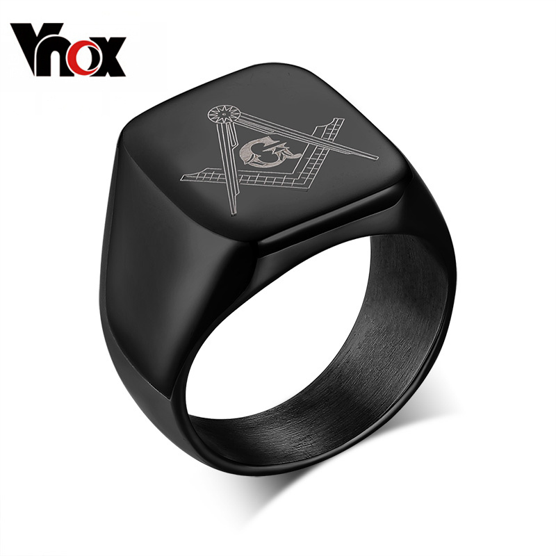 ce30e2fd347 Get Quotations · Cool Rock Men Masonic Rings Stainless Steel Big Wedding  Rings for Men Jewelry High Quality Men