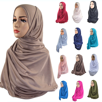 Wholesale Promotional Muslim Women Cheaper Head Scarf Premium Stretch Cotton Jersey Hijab