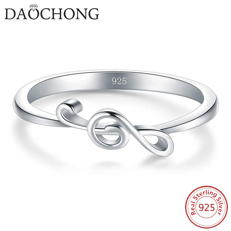 Sideway Music Note Ring 925 Sterling Silver Rings for Women Girls