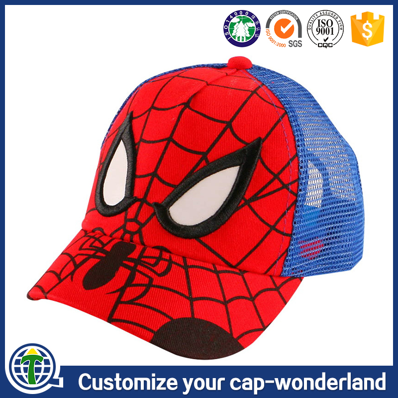 guangzhou crazy bird cap industry co., ltd. embroidered mini children cap spiderman