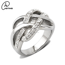 Latest Design Fashion Stainless Steel Crystal Rhinestone Rings