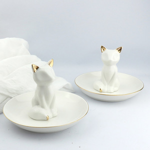 Nordic Style White Animal Fox Tray Ceramic Ring Necklace Jewelry Holder