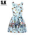 Sunshine Kid Brand Children Clothing Summer Style Sleeveless Dress with Butterfly Pattern Fashion Party Dresses for