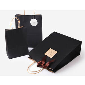 2018 Custom recycled luxury craft gift carry shopping black kraft paper bag