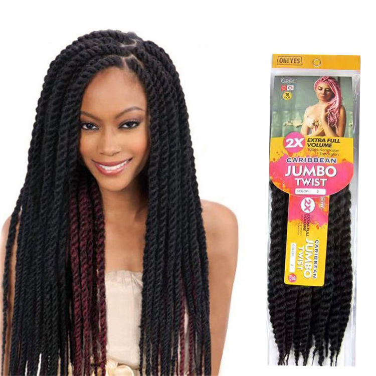 Free Sample 18inch 45cm 20strands 2x Caribbean Jumbo Twist Braid