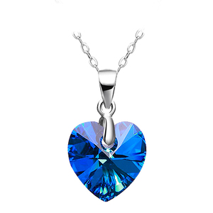 A184 beautiful solitaire blue sapphire crystal heart cut shaped pendant
