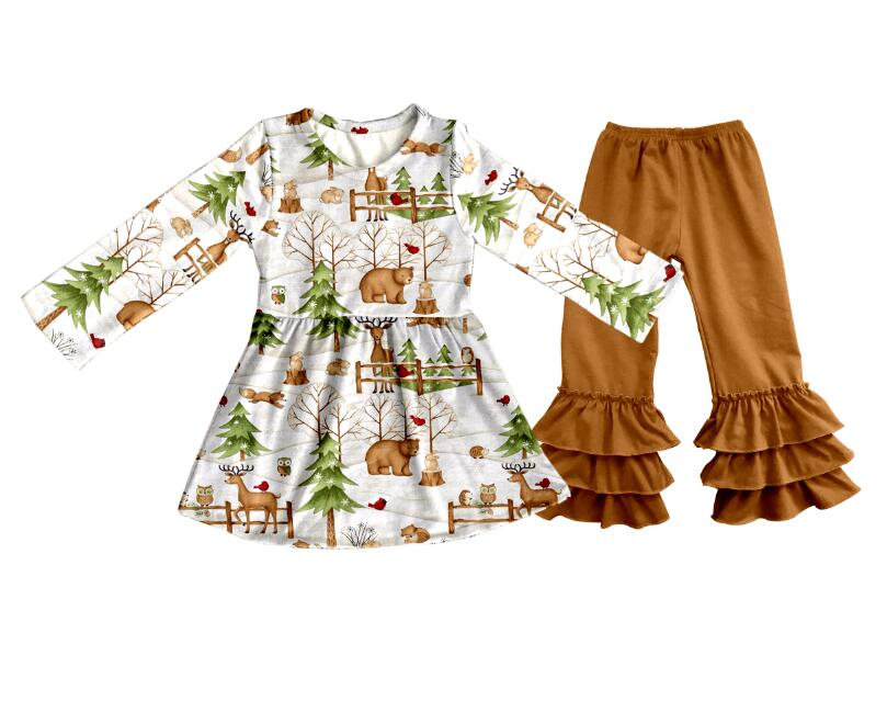 New design baby clothing wholesale children's boutique clothing set girls fall clothes kids outfit long sleeve dress and pants