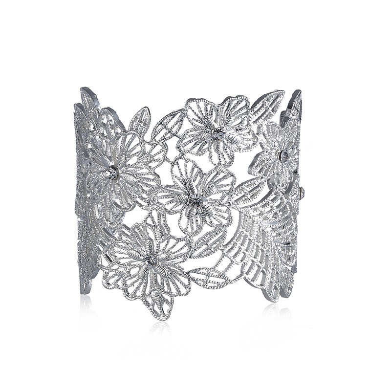 B094 OEM Design Accepted Bracelet Fashion Metal Flower Hollow Cuff Bracelet