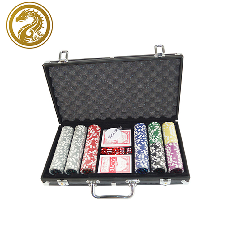 300 pcs Poker chips 2 speelkaarten Onderhandelen Poker chips set met aluminium Behuizing