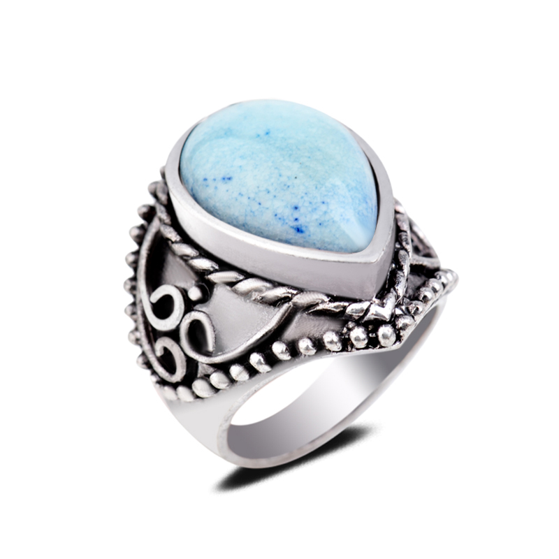 Real Natural Spot Stones Gem Circle Finger Ring Heart Aquamarine Single Centre Stone Engagement Ring For Men And Women