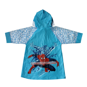 PVC fabric waterproof spiderman raincoat for child