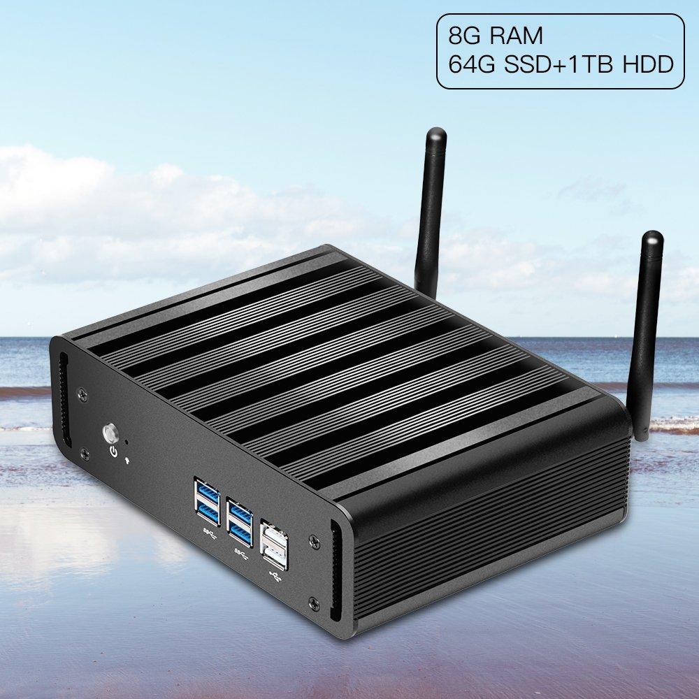 Mini pc ,XCY Mini Computer Windows10 Intel Core i5 Fanless TV Box Desktop Computer (8G DDR3 RAM 256GB SSD, Intel Core i5 4200U)