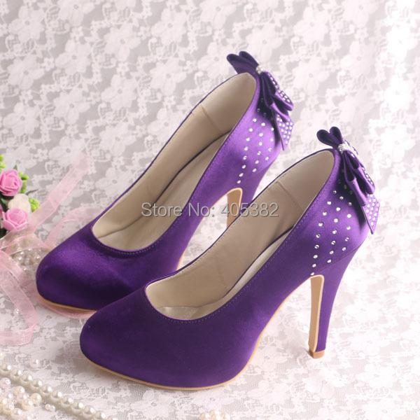 (20 Colors)Hot Sale Purple Satin High Heels Hot Wedding