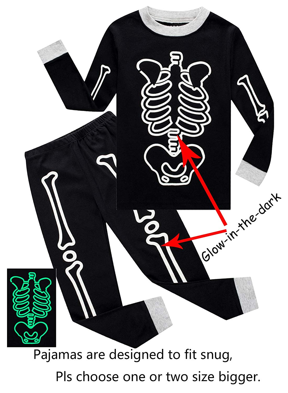 c4a641ffe2d Get Quotations · IF Pajamas Little Boys Halloween Skeleton Pumpkin Pajamas  Sets Girls Pjs