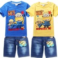 Retail Children s suit despicable me 2 minion 2015 new boys Clothing Set Kids t shirt