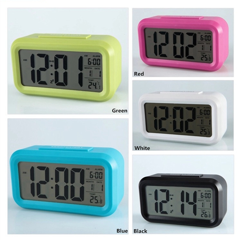 Large LCD Display snooze electronic clock Easy to Set Soft Night Light Digital Alarm Clock