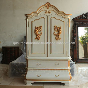 Antique Reproduction White Painted Wardrobes With Angel