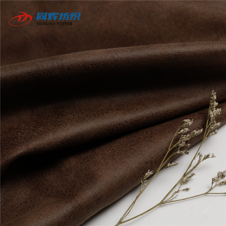 TH6038 Wholesale China Tonghui Textile Weaving Printed Imitation Faux Leather Fabric For Sofa