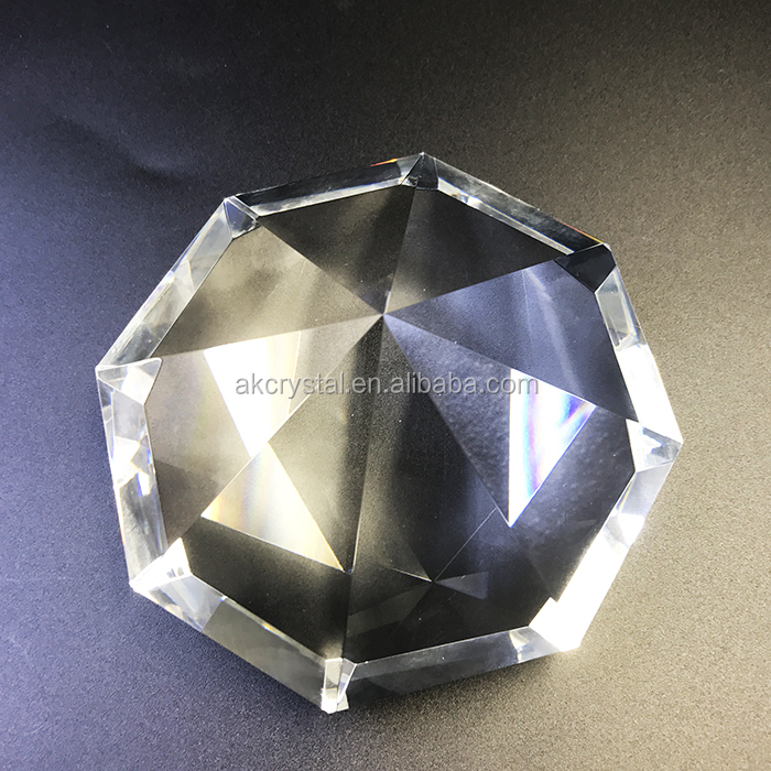 Octagon shape decorative gold champagne crystal glass stone diamond 50mm