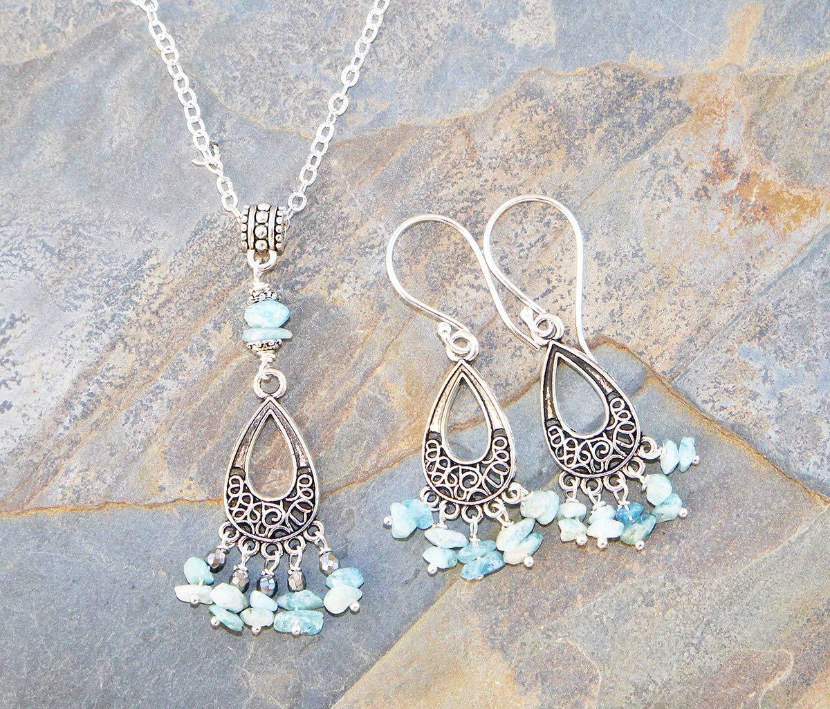 Aquamarine Jewelry Set, Light Blue Jewelry Set, Chandelier Jewelry Set, Natural Stone Jewelry Set, Filigree Jewelry Set, Boho Jewelry Set