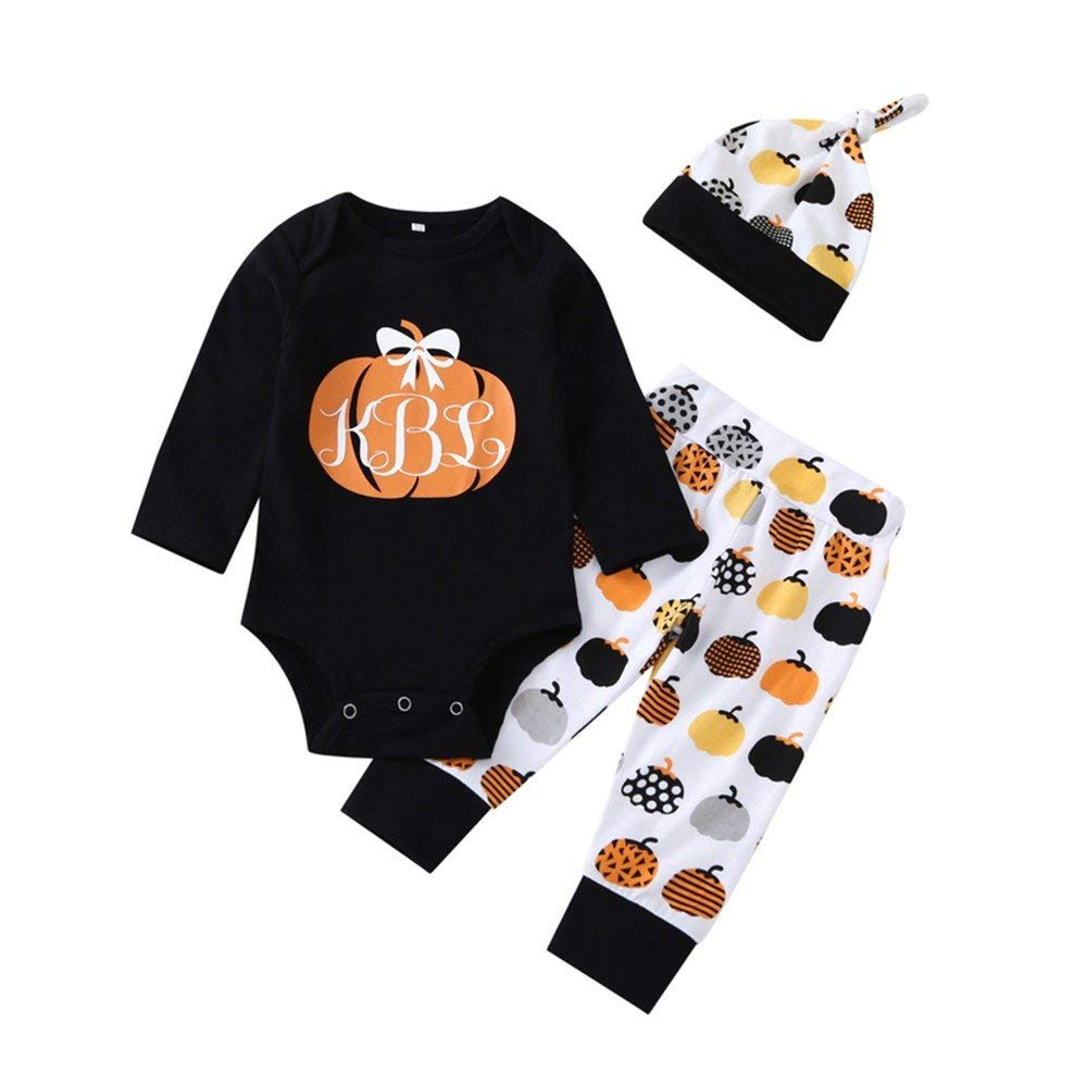 Cute Infant Baby Girl Boy 3PC Pumpkin Clothes Long Sleeve Pumpkin Romper with Hat and Pants Outfits Set (Black, 18-24 Months)