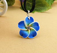 promotional cheap polymer glay plumeria rubra necklaces for gift
