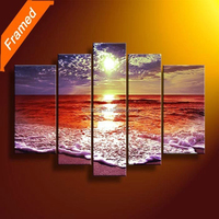 Handmade Paintings Landscapes 5 Panel Beach Seascape Large Wall Art Modern Canvas Painting Ideas