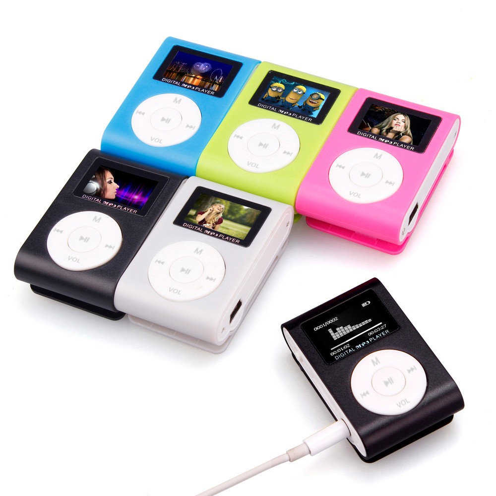 Mini Clip MP3 Player Support 32GB Micro TF/SD Card Slot Sports MP3 Music Player With LCD Screen