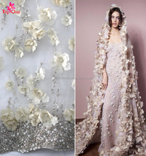 2017 ivory wedding dress bridal gown 3d flower lace embroidered fabric,chantilly lace fabric in dubai