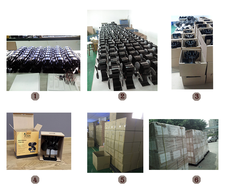 4 blads zwart eco warmte aangedreven ventilator voor houtkachel/houtkachel