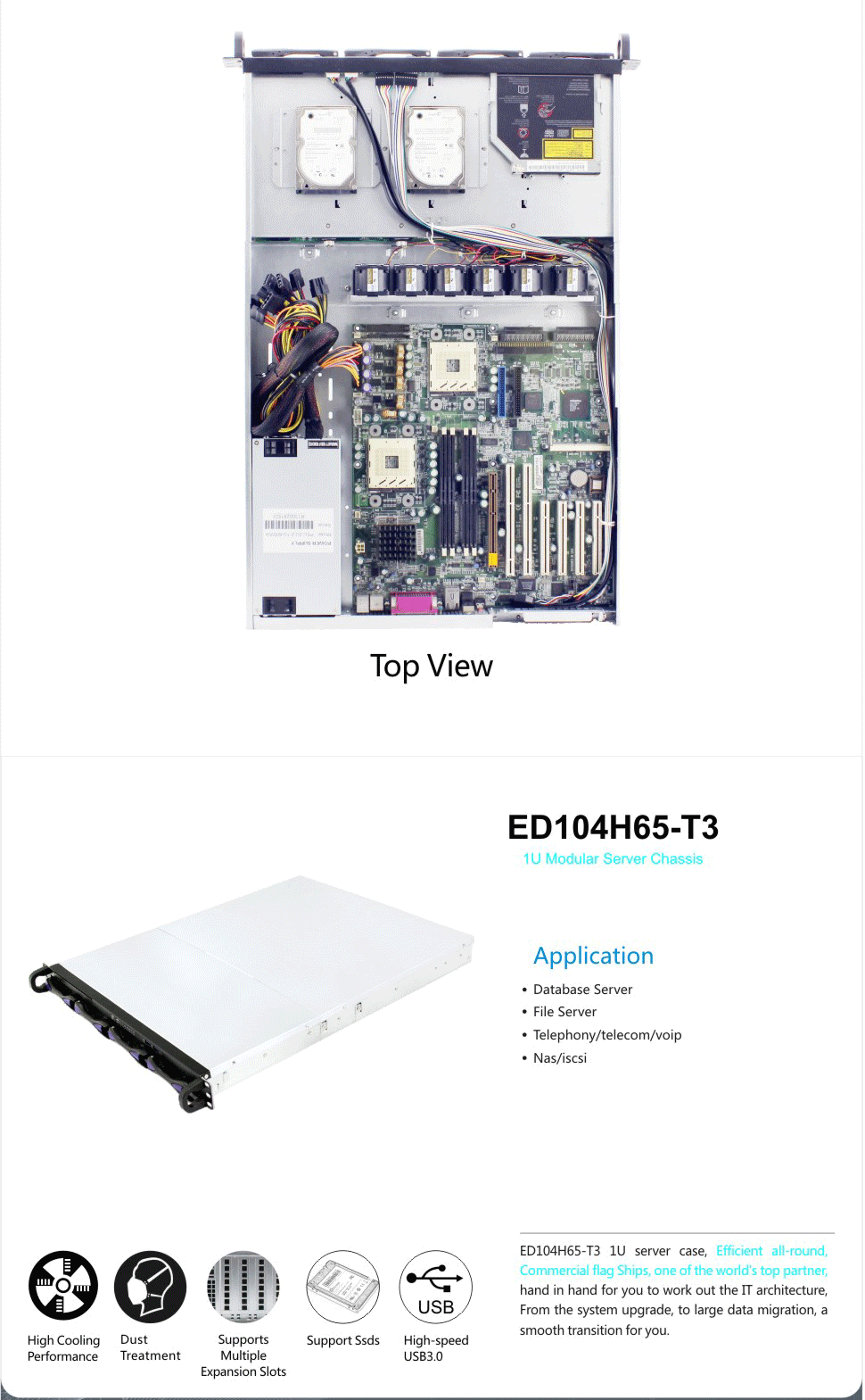 "ED104H65-T3 server case with 4 HDDs hot swap bays 1U 19"" rack server with U L 3C CE VDE SEMKO CSA PSE  certification OEM/ODM"