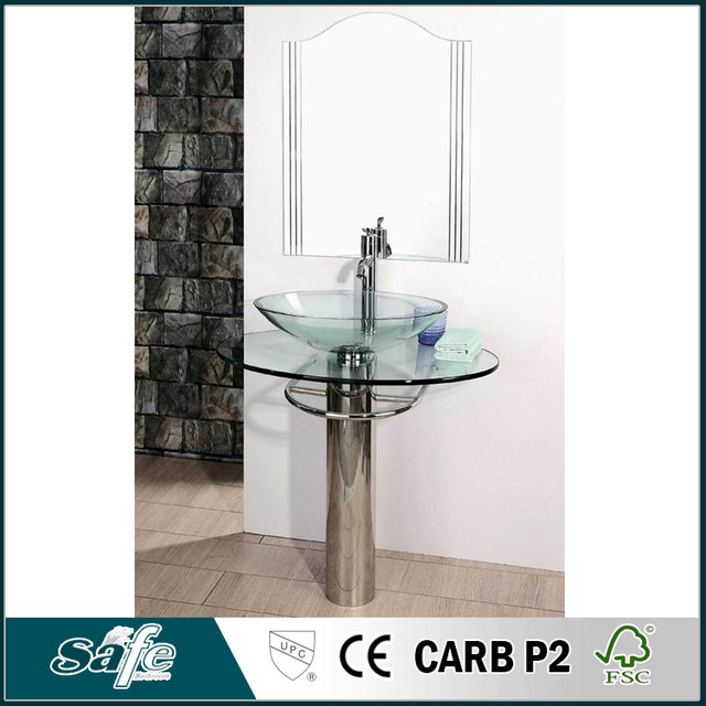 Cheap Bathroom Furniture With Glass Top And Stainless Steel Column
