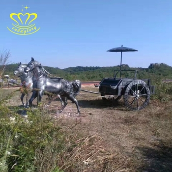 Outdoor Garden Decor Metal Crafts New Product Antique Life Size Bronze Horse Chariot Statue