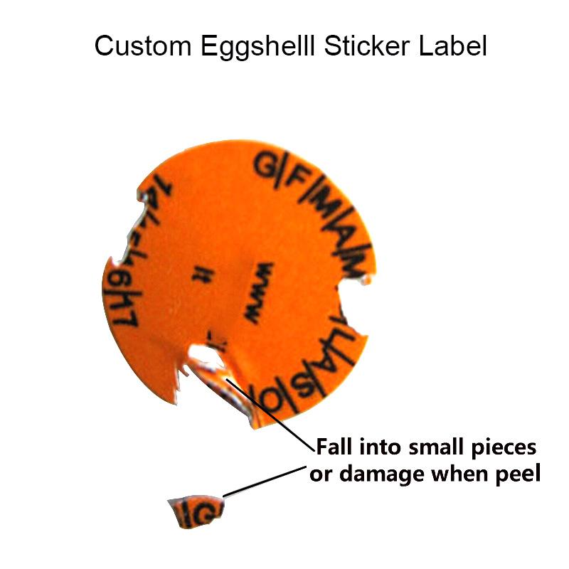 Custom Eggshell Sticker Labels Warranty Breakable Label Stickers