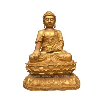 Customized products Temple use decor brass Golden Buddha statue