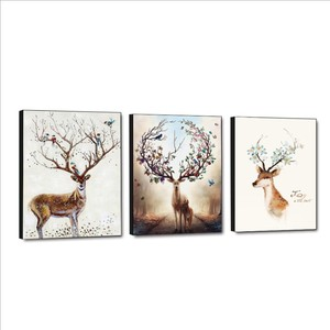 Wholesale elk triptych painting decoration wall art for home decorative