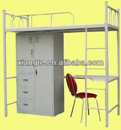College student fashionable steel apartment beds/Metal school dormitory bunk bed with desk and wardrobe