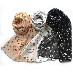 music notes long chiffon scarf