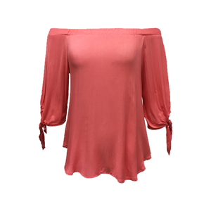 Fashion Collection 100% Rayon Children Women Plus Size Ladies Casual Fashion Cold Shoulder 3/4 Sleeve Design Salmon Color Blouse