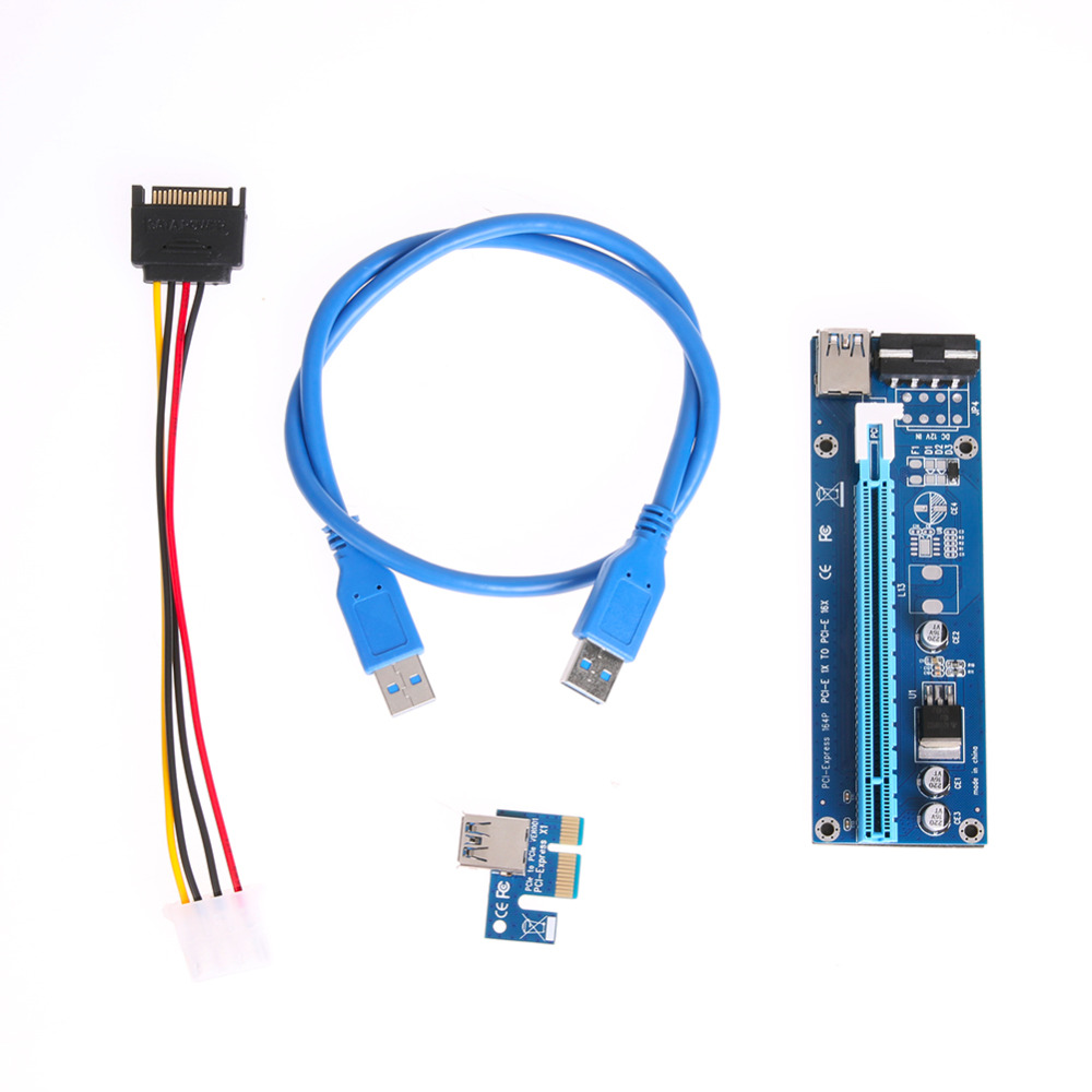 PCI-E Express 1X to 16X Extender Riser Card Adapter SATA 15Pin Male to 6Pin Power Line USB 3.0 Cable for Mining