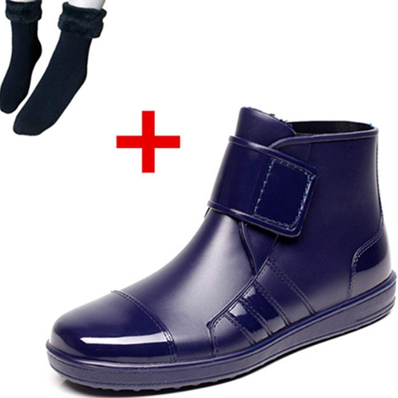1115d17cb6c1a3 Get Quotations · Quatchi Mens Hook Loop Rain Boots Wellington Ankle High  Stylish Man Wellies Booties Male Chelsea Shoes
