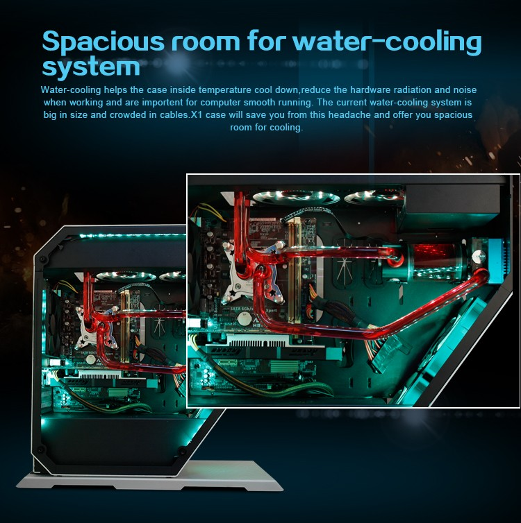 2017 Deluxe Aluminum water-cooling X2 M-ATX PC gaming case