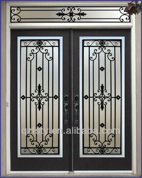 Luxury Wrought Iron Main Entrance Double Doors Grill Design