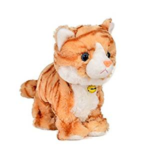 Electronic Toy Cat Kitten Pet Robot Cat Interactive For Children Kids Funny Walking Meow Sound Toys Plush Cat (Yellow camouflage)