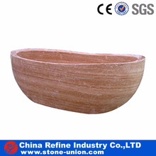 Red wooden marble oval free standing bathtub