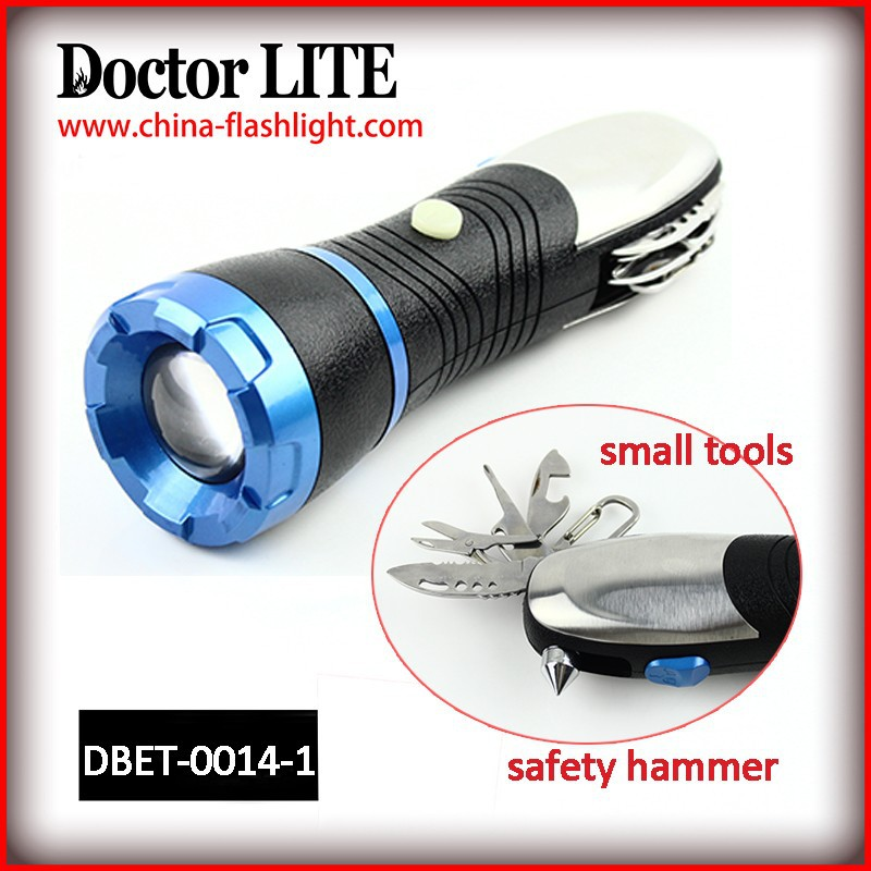 Multi tool torch light with safety hammer,Bus emergency hammer&LED light,Multi-Functional led torch flashlight and Safety tool
