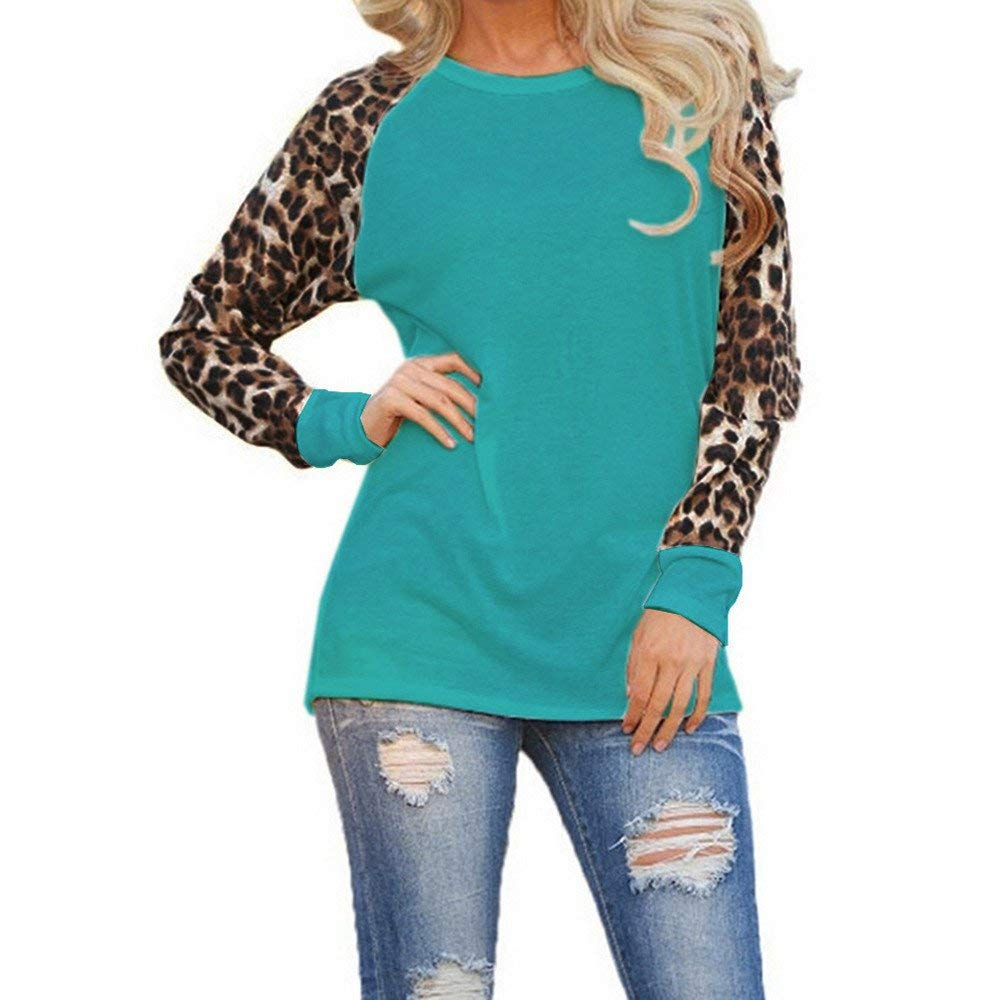 Snowfoller Clearance! Women Fashion Leopard Print Long Sleeve Blouse Top Casual Sports Pullover T-Shirt