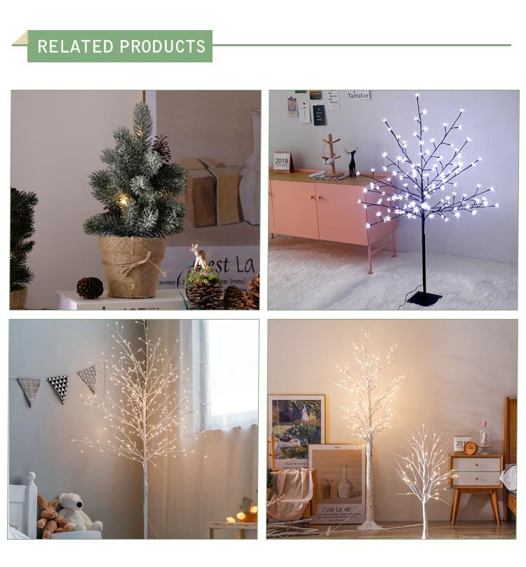 120 cm açık Noel dekorasyon parlak LED beyaz simülasyon çiçek huş ağacı bahçe ışığı